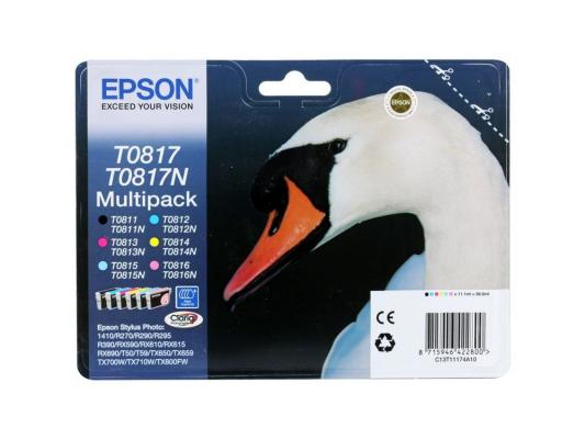 Картридж Epson Original T11174A10 (T0817) комплект для T50/T59/R270/R390/RX590 (6 цветов) new pickup roller for epson r210 r230 r290 r270 t50 p50 t59 t60 l801 r330 r250 c63 c65 c67 r350 r310 printer