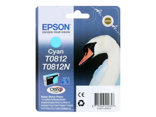 Картридж Epson Original T11124A10 (голубой) (замена T0812) для R270/390/RX590 повышенной емкости картридж epson original t11114a10 черный для r270 390 rx590 повышенной емкости