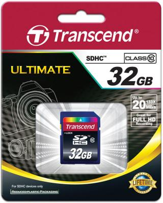 Карта памяти SDHC 32Gb Transcend Class10 (TS32GSDHC10) карта памяти transcend ts4gcf133