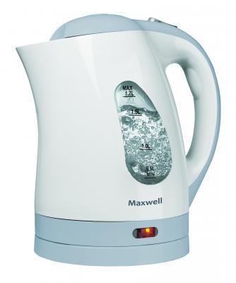 Чайник Maxwell MW-1014(B) 2200 Вт белый голубой 1.7 л пластик чайник maxwell mw 1083 tr 2200 вт чёрный 1 7 л стекло