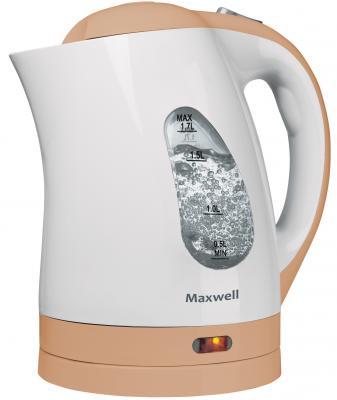 Чайник Maxwell MW-1014(BN) 2200 Вт белый бежевый 1.7 л пластик чайник maxwell mw 1028 g 2200 вт зелёный белый 1 7 л пластик
