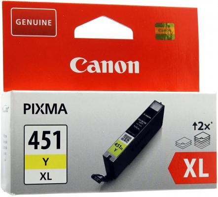 Картридж Canon CLI-451Y XL жёлтый MG6340, MG5440, IP7240 .  695  страниц. чернильный картридж canon cli 451gy xl grey