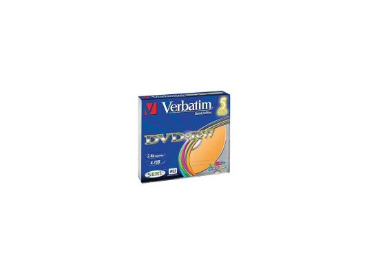 Диски DVD+RW Verbatim 4x 4.7Gb SlimCase 5шт Color 43297