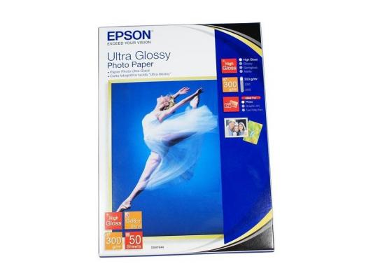Бумага Epson 13*18 300 г/кв.м Ultra Glossy Photo Paper S041944 50л фотопленка fujifilm wide glossy для instax 300 210 glossy 10 2pk на 20 фотографий