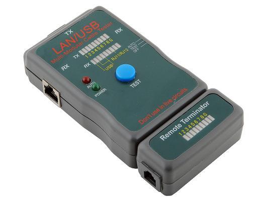 Тестер кабеля Gembird NCT-2 LAN 100/1000 Base-TX для UTP STP RJ1 тестер универсальный neomax lan tester nf 8108 utp stp rj 11