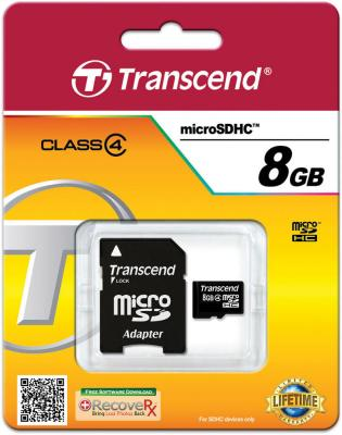 Карта памяти Micro SDHC 8GB Transcend Class 4 + адаптер SD (TS8GUSDHC4) cylinder kit for cpi keeway 50cc 2t gus diameter 40x12 40mm 50cc cylinder piston kit