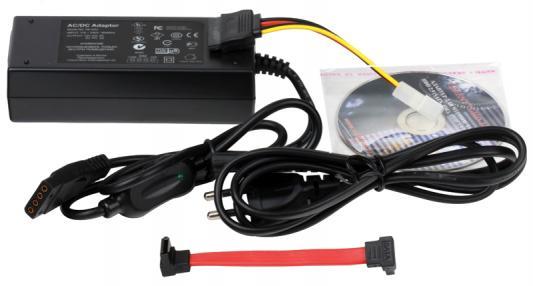 Адаптер-переходник ORIENT USB 2.0 - 2.5/3.5/5.25 IDE/SATA UHD-103N черный + внешний блок питания переходник sata 8 pin