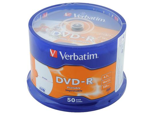 Диски DVD-R Verbatim 16x 4.7Gb CakeBox 50шт Printable 43649 43533