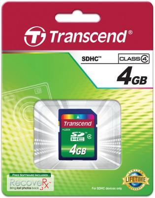 Карта памяти SDHC 4GB Transcend Class 4 (TS4GSDHC4)