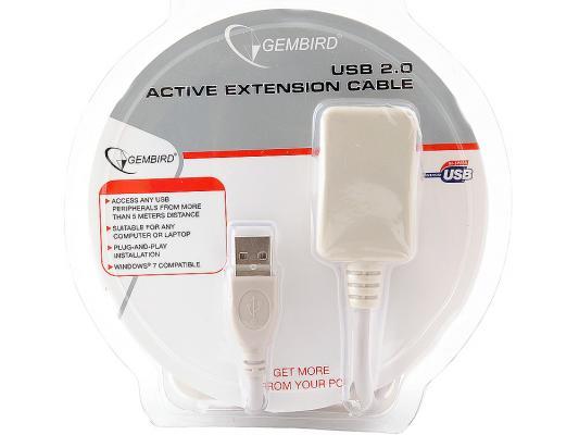 Кабель удлинительный USB 2.0 AM-AF 4.5м Gembird активный UAE016 предотвращающий затухание сигнала