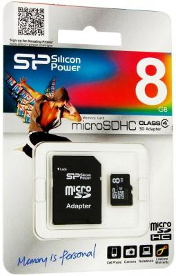 Карта памяти Micro SDHC 8GB Class 4 Silicon Power SP008GBSTH004V10-SP + адаптер SD карта памяти sdhc micro sony sr 32uya