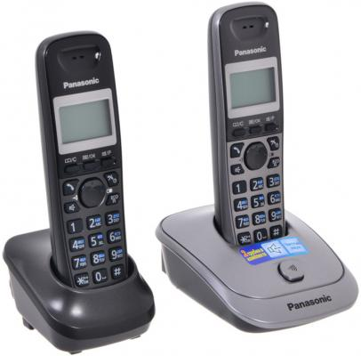 Телефон DECT Panasonic KX-TG2512RU1 темно-серый металлик телефон ip dect panasonic kx tpa60rub sip трубка цифр ip телефон