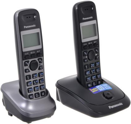 Телефон DECT Panasonic KX-TG2512RU2 серый panasonic kx tg2512ru2 dect phone additional handset included eco mode time date display communication between handsets