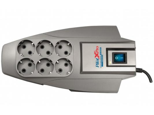 цена на Сетевой фильтр ZIS Pilot X-Pro серый 6 розеток 3 м