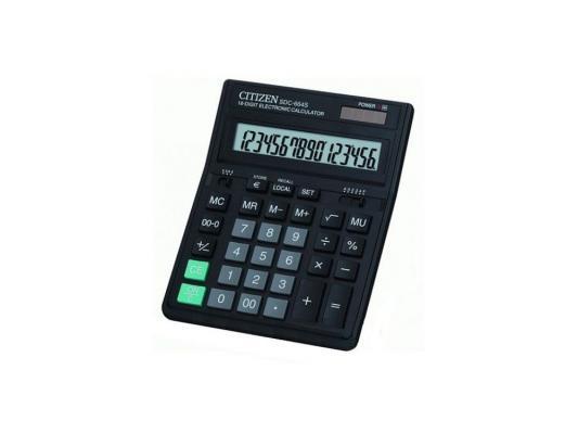 цена на Калькулятор Citizen SDC-664S двойное питание 16 разрядов налог наценка конвертер черный