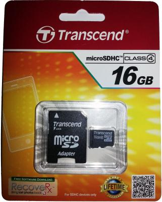 Карта памяти Micro SDHC 16GB Transcend Class 4 + адаптер SD (TS16GUSDHC4)