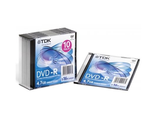 Диски DVD-R 16x 4.7Gb SlimCase (10шт) TDK 19420 диски cd dvd thunis dvd r dvd r 16x 25