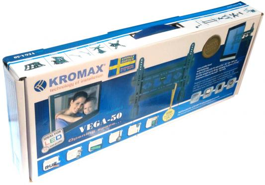 Кронштейн kromax VEGA-50 Серый  тв 26-55 настенный 0 степеней свободы VESA 400x400 мм от стены 15,5 мм max 45 кг