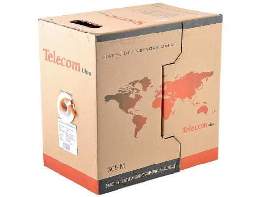 Кабель Telecom Ultra Base UTP TUS44048E-OR 4 пары кат 5е 305м оранжевый кабель vcom cca utp кат 5е 4 пары бухта 305м vnc1100 омедненный