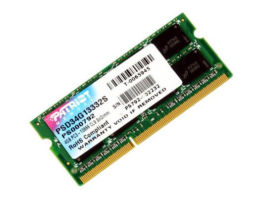 Оперативная память SO-DIMM DDR3 Patriot 4Gb (pc-10600) 1333MHz память so dimm ddr3 patriot 4gb 1333mhz psd34g133381s