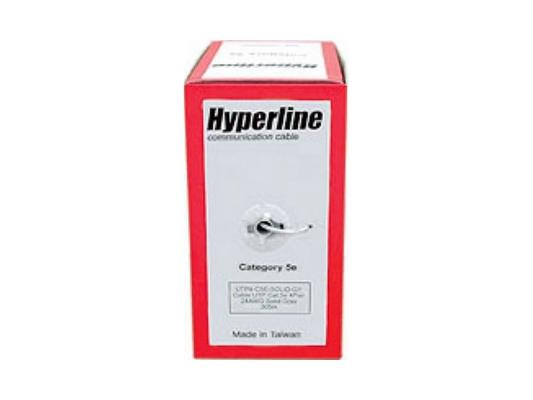 Кабель UTP indoor 4 пары категория 5e Hyperline UTP4-C5E-SOLID-GY-305 одножильный 24AWG серый 305м (UUTP4-C5E-S24-IN-PVC-GY-305)