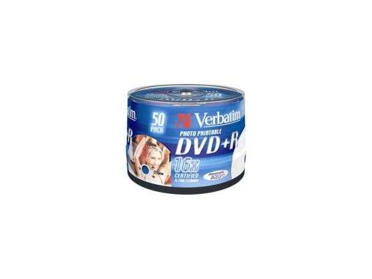 Диски DVD+R 16x 4.7Gb CakeBox (50шт) InkJet Printable Verbatim [43512] диски cd dvd sony dvd r 16x dvd dvd