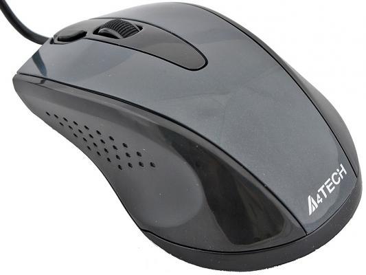 Мышь проводная A4TECH N-500F-1 чёрный серый USB мышь проводная a4tech n 500f 1 v track padless чёрный серый usb
