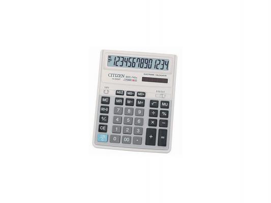 Калькулятор Citizen SDC-740N 14 разрядов, двойное питание, 2 памяти калькулятор citizen sdc 554s 14 разрядов настольный в блистере