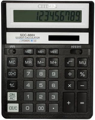 Калькулятор настольный Citizen SDC-888XBK 12-разрядный калькулятор citizen sdc 640ii 14 цифр дисплей