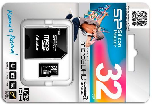 Карта памяти Micro SDHC 32GB Silicon Power Class 4 + адаптер SD (SP032GBSTH004V10-SP) карта памяти sdhc micro sony sr 32uya