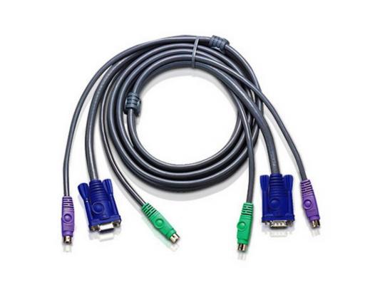 Кабель ATEN 2L-1005P/C Кабель для KVM: 2*PS/2(m)+DB15(m) (PC) -на- 2*PS/2(m)+DB15(f) (KVM), 5м