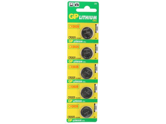 Батарейки GP Lithium CR2025 5 шт gp cr2032 3v lithium cell button battery 5 piece pack