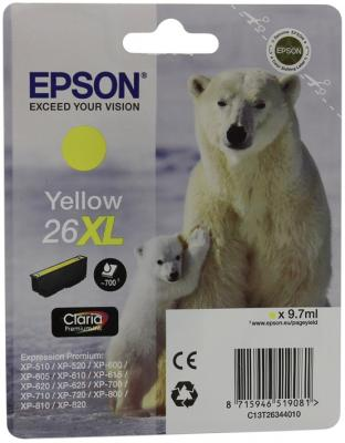 Картридж Epson C13T26344010 для XP-600 XP-605 XP-700 XP-800 Yellow Желтый увеличенный suitable for north america t2001 ciss chip for epson xp 200 xp 300 xp 400 xp 510 printer arc chip for epson t2001 t2004