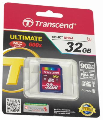 Карта памяти SDHC 32GB UHS-I Transcend Class 10 (TS32GSDHC10U1)  цены