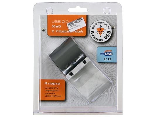 Концентратор USB 2.0 Konoos UK-19 4 x USB 2.0 черный