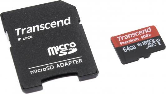 Карта памяти Micro SDXC 64Gb Transcend Class 10 + адаптер SD (TS64GUSDU1)