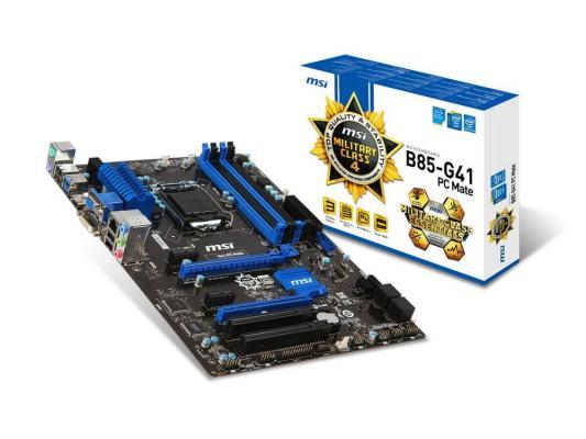 Мат. плата для ПК MSI B85-G41 PC Mate Socket 1150 B85 4xDDR3 2xPCI-E 16x 2xPCI 2xPCI-E 1x 2xSATA II 4xSATAIII ATX Retail