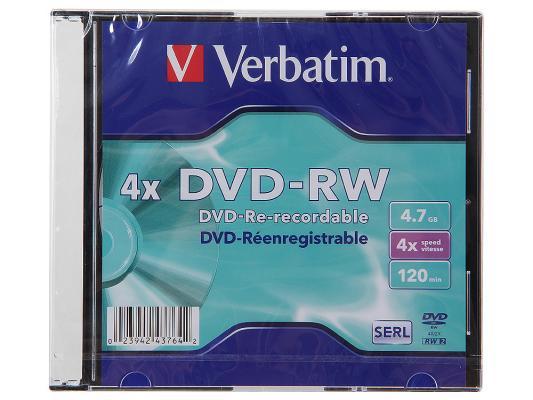 Диски DVD-RW Verbatim 4x 4.7Gb SlimCase 1шт 43764 диски dvd rw 4 7gb 4x verbatim