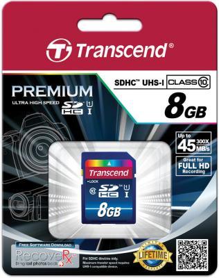Карта памяти SDHC 8GB Transcend UHS-I Class 10 <300x> Premium (TS8GSDU1) карта памяти transcend 8gb microsdhc class 10 uhs i 300x premium adapter ts8gusdu1