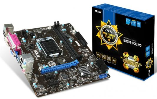 Материнская плата MSI B85M-P33 V2 Socket1150 Intel B85 2xDDR3 1xPCI-E 16x 2xPCI-E 1x 2xSATAII 2xSATAIII USB3.0 D-Sub DVI 7.1 Sound Glan mATX Retail