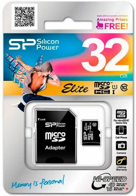 Карта памяти Micro SDHC 32Gb Silicon Power Elite UHS-1 Class 10 + 1 Adapter (SP032GBSTHBU1V10-SP) samsung 32gb class 6 micro sdhc memory card w adapter mb ms08d
