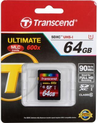 Карта памяти SDXC 64GB Transcend UHS-I Class 10 (TS64GSDXC10U1)