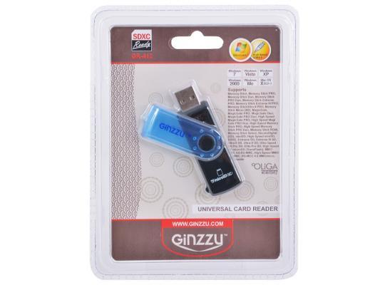 Внешний картридер Ginzzu GR-412B черный/синий цена