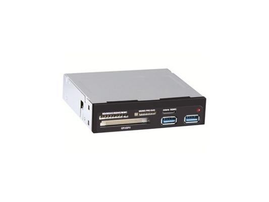 Картридер внутренний Ginzzu GR-152UB SDXC/SDHC/MMC/microSDXC/SDHC/MS/MSDuo/MS PRO Duo/CFI/CFII/M2/xD + 2xUSB 3.0 OEM черный карт ридер cbr human friends speed rate glam синий цвет all in one micro ms m2 sd t flash ms duo mmc sdhc dv ms pro ms ms pro duo usb 2 0