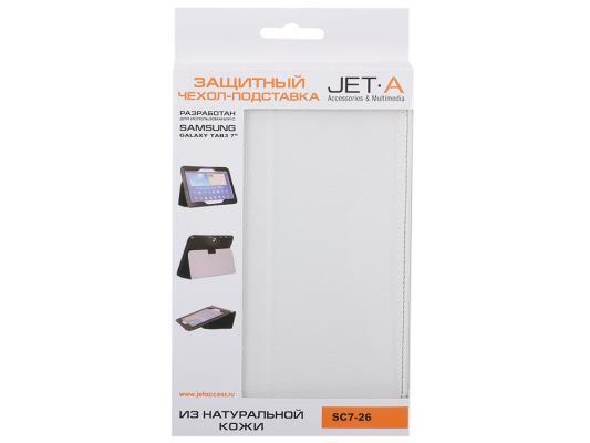 "Чехол Jet.A SC7-26 для Samsung Galaxy Tab 3 7"" натуральная кожа белый"