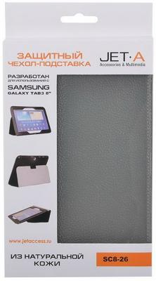 "Чехол Jet.A SC8-26 для Samsung Galaxy Tab 3 8"" натуральная кожа серый"