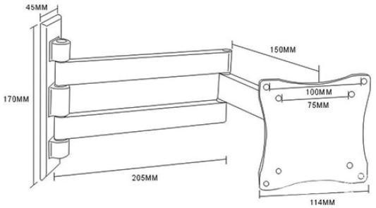 """Кронштейн ARM Media LCD-7101 белый для LCD/LED ТВ 10""""-26"""" настенный 4 степени свободы VESA 75/100 max 15 кг"""