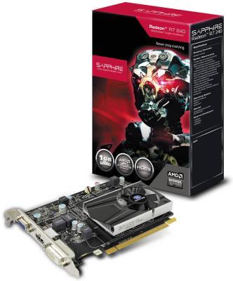 Видеокарта 1Gb <PCI-E> Sapphire R7 240 BOOST <D-Sub, DVI, HDMI, Retail> (11216-00-20G)