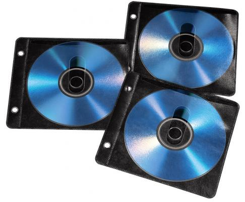Конверты Hama для 2 CD/DVD полипропилен 50шт с перфорацией для портмоне с кольцами черный/прозрачный H-84102