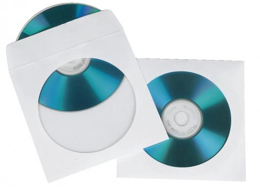 Конверты Hama для CD/DVD бумажные с прозрачным окошком белый 100шт H-49995